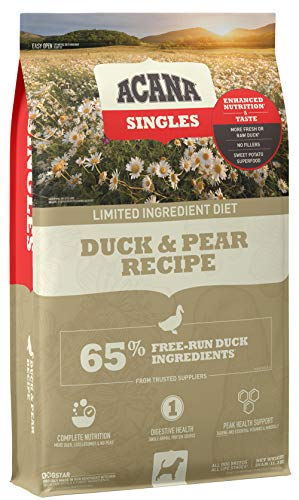Acana Singles Limited Ingredient Dry Dog Food, Grain Free, High Protein, Duck & Pear, 25lb