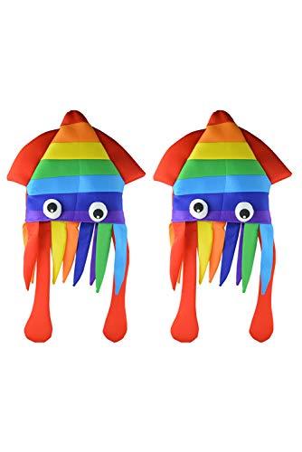 Paquete de 2 sombreros de calamar arco iris divertido tocado de pulpo cosplay disfraz de animales de mar