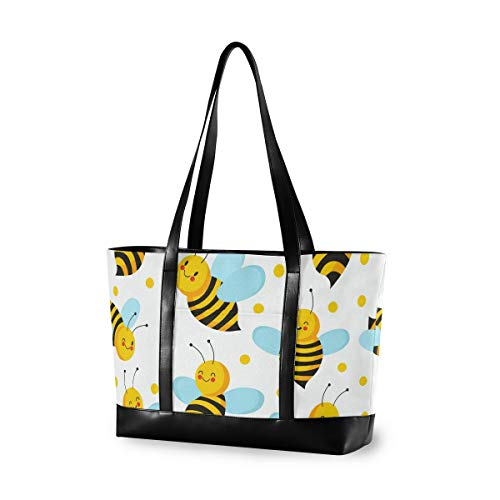 Cartoon Honey Bee 15.6 Inch Laptop Tote Bag For Womens Large Tote Bag Lightweight Shoulder Bag Multi-Pocket Canvas + Leather Business Work Office Briefcase for Computer