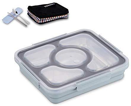 Pkfinrd Lunch BoxStudent White-Collar Compartiment Lekt geen voedsel of Meng Milieuvriendelijke Bento Boxen met Bestek China Blauw 4 Set