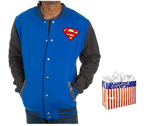 Superman Mens' Letterman Jacket and Bag - 2 Piece Gift Set (Small) Blue