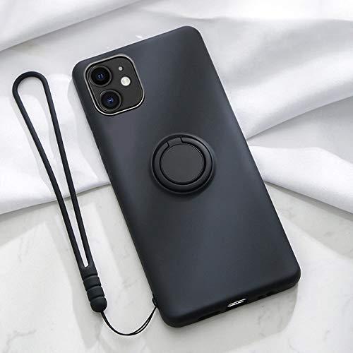 WHBDJ Funda de Silicona para iPhone 11 Pro MAX XS XR X 8 7 6 6S Plus SE 2020 con Soporte para Anillo Soporte para teléfono Funda Suave y Bonita Chica Mujer, Negro, para iPhone 6 6S Plus