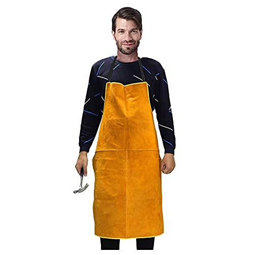 Leather Welding Apron for men work apron Heat & Flame-Resistant leather apron Breathable back leather aprons for men Pure cowhide heavy duty apron wear resistance mens apron adjustable unisex apron
