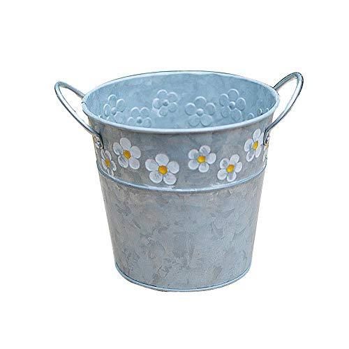 Rétro fer Pot de fleur Seau, Pots en métal, petite marguerite en relief, flocon de neige, seau de fleur en fer, seau en fer, décorations pour la maison de plantes grasses, plantes succulentes