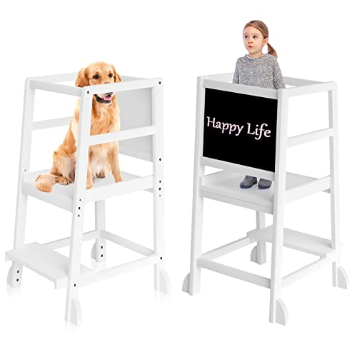 Torre de aprendizaje para niños, con riel de seguridad, con una pizarra, para niños de 18 meses a 3 años de edad