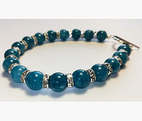 TyBravig Natural Stone Bracelet 8 mm Moonstone Gemstone Amethyst Quartz Onyx Tiger Eye Jade Chalcedony Turquoise Agate Labradorite 8 mm Chalcedony Blue and Shiny