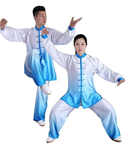 tai chi Damen Farbverlauf Uniform Kung Fu Anzug Kampfkunst Kleidung Seidig Und Atmungsaktiv Baumwollseidenset,Blue2-M
