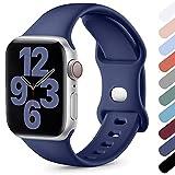 Upeak Compatible con Correa Apple Watch 38mm 40mm 42mm 44mm, Correa Deportiva de Silicona Suave Compatible con iWatch Series SE 6 5 4 3 2 1, 42mm/44mm-M/L, Azul Oscuro