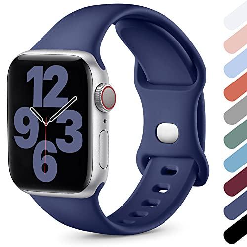 Upeak Compatible con Correa Apple Watch 38mm 40mm 42mm 44mm, Correa Deportiva de Silicona Suave Compatible con iWatch Series SE 6 5 4 3 2 1, 38mm/40mm-S/M, Azul Oscuro