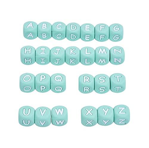 AIDOU 100 cuentas sueltas de silicona para dentición de bebé, alfabeto de silicona, 26 letras dentición cubo cuentas para bricolaje cadena de chupete de bebé mordedor collar pulsera de 12 mm