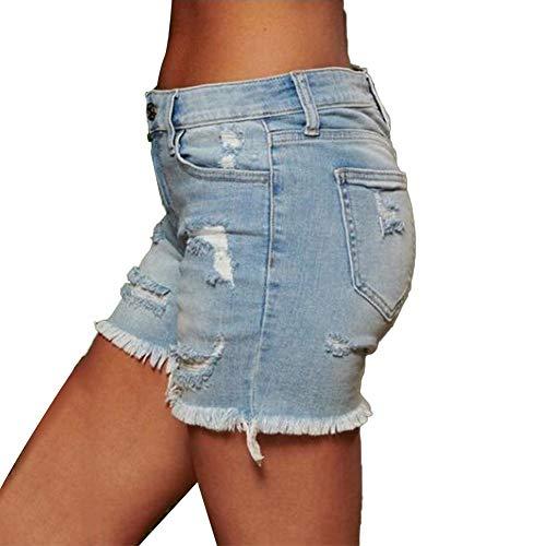 Yosemite Moda damska damska niski stan seksowne szczupłe dżinsy podarte kieszenie dżinsowe szorty mini spodnie ciepłe spodnie jasnoniebieskie M