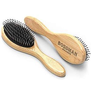 Bossman Boar and Nylon Bristle Hair and Beard Brush - Detangles & Straightens - Wooden Oval Wet Brush for Men 2