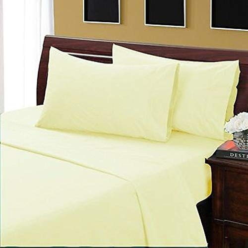 Threads Collection 600TC 100% Egyptian Cotton Luxury 4 Piece Bed Sheet Set, 600 Thread Count Fits Mattress Upto 15'' Deep Pocket Queen Light Yellow Solid