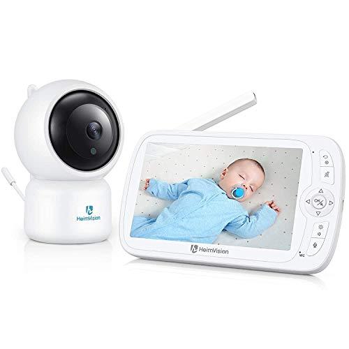 Babyphone mit Kamera, HeimVision Soothe 3 HD 1080P Video-Babyphone, VOX-Modus, Nachtsicht, 5 Zoll Farbdisplay, 110 ° Weitwinkel, Gegensprechfunktion, Einschlaflieder, Reichweite bis zu 300m