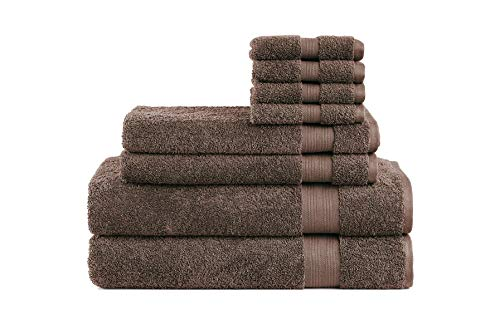 Cotton Cozy Indulgence 600 GSM Luxury 8-Piece Towel Set: 2 Bath Towels, 2 Hand Towels and 4 Washcloths, 100% Cotton, Amercian Construction, Soft, Highly Absorbent, Machine Washable, Chocolate Brown