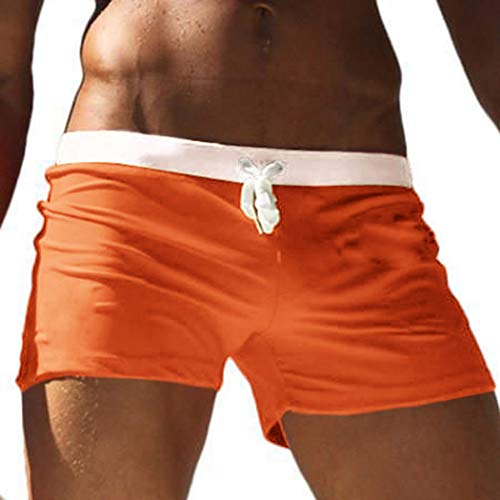 COOFANDY Men's Swim Trunks Quick Dry Beach Boxer Briefs Swimwear Board Shorts with Zipper Pocket Orange