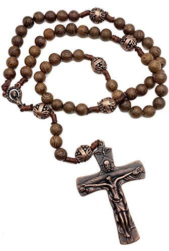 Nazareth Store Collana di perle di rosario in legno di nostro padre con bellissimo grande croce antica croce