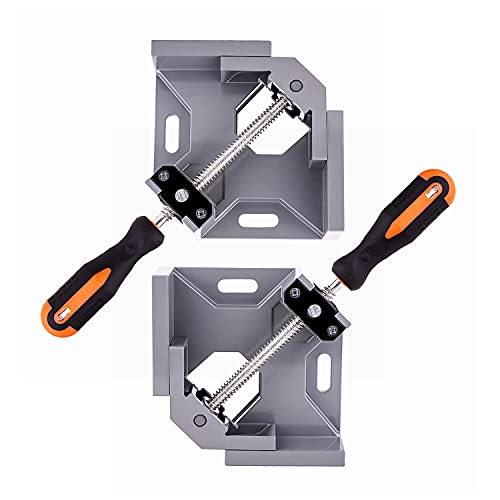 2PCS Angle Clamp 90 Degree Clamps For Woodworking,Swing Jaw, Adjustable Frame Vise,Aluminum Alloy Corner Clamp ,Carbon Steel Threaded Rod,For Welding, DIY Woodworking, Photo Corners.