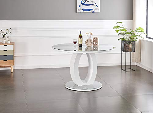 Furniturebox UK Giovani Modern Stylish Grey/White High Gloss And Glass 100cm Round Dining Table And 4 Contemporary Milan Chairs Set (Table Only)
