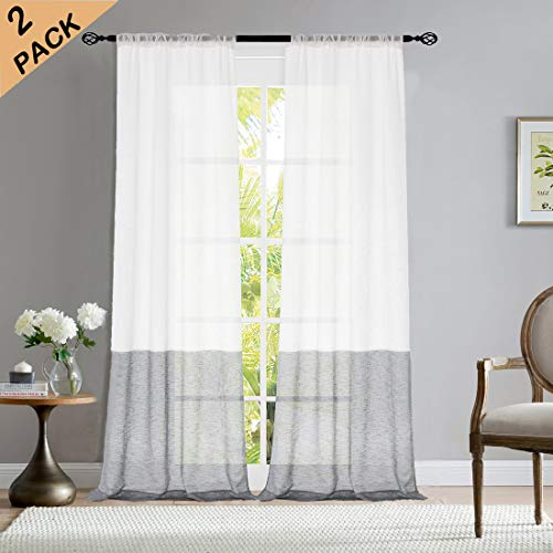 Central Park Gray and White Stripe Semi-Sheer Color Block Window Curtain Panel Linen Drape Treatment for Bedroom Living Room Farmhouse 84 inches Long with Rod Pocket,2 Panel Rustic Living Panels