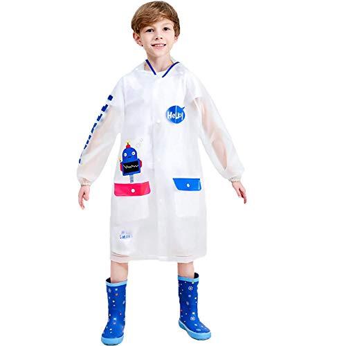 Moent Abrigo y chaqueta para niños, para niños, niñas, con capucha, ponchos de lluvia, impermeable, cortavientos, impermeable, para Pascua, para niños, fiestas de lluvia, regalos (azul, 3 a 4 años