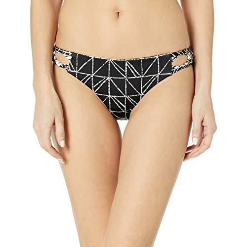 Dolce Vita Women's Rough & Tumble Abstract Geometric Beaded Side Bikini Bottom, Black, XS