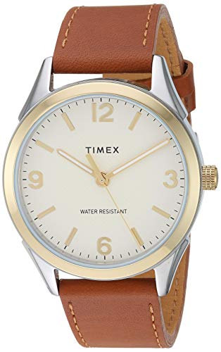 Timex Men's TW2T67000 Briarwood 40mm Brown/Gold-Tone Genuine Leather Strap Watch