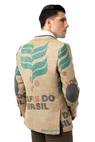 Designer-Herrensakko aus brasilianischen Kaffeesäcken mit originalen Kaffeefarm-Prints, Olivenholz-Knöpfen & Ellenbogen-Patches. Exklusiv von THE COFFEE JACKET