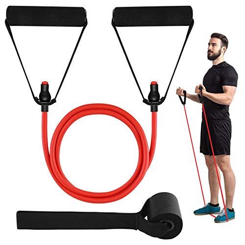 HaroFit Single Resistance Bands mit Griffen - Trainingsbänder Workout Bands Wiederstands Bänder für Physiotherapie, Krafttraining, Heimtraining, Türanker und Workout Guide Enthalten