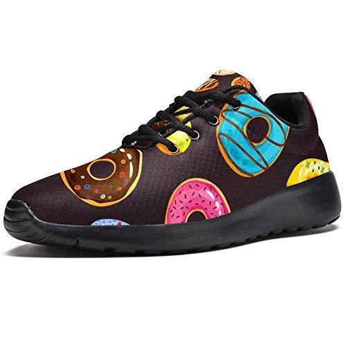 TIZORAX Zapatillas de correr para hombres aspersión y donuts de chocolate moda zapatillas de deporte de malla transpirable caminando senderismo tenis zapato, color Multicolor, talla 45 EU