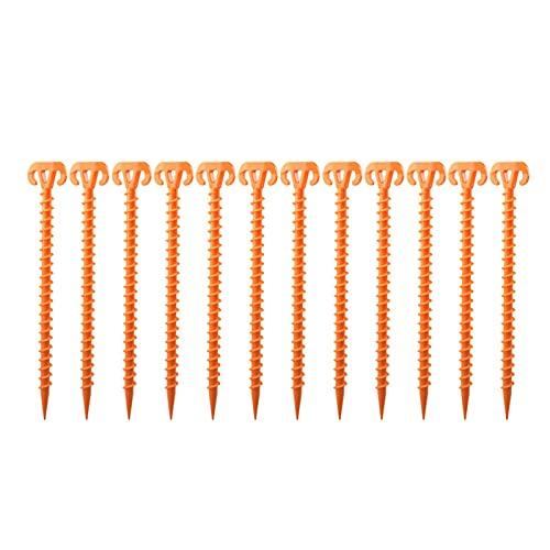 CML 12pcs Spiral Tiend Stakes 28 cm Tienda de Tiendas de Viento a Prueba de Viento Tornillo de Camping (Color : Orange)
