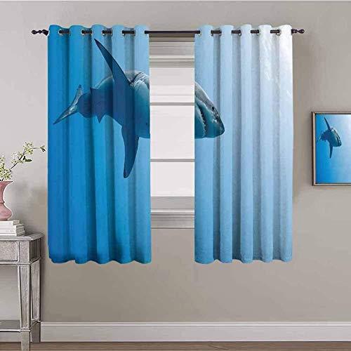 LucaSng Blickdicht Vorhang Wärmeisolierender - Blau minimalistisch Hai Tier - 183x160 cm - Junge mit Mädchen Schlafzimmer Wohnzimmer Kinderzimmer - 3D Digitaldruck mit Ösen Thermo Vorhang