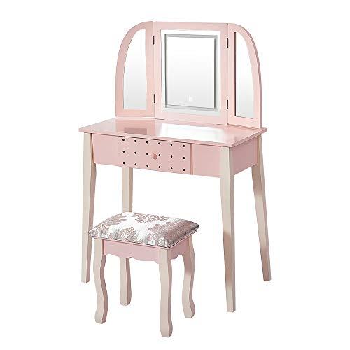 Set da trucco con 3 specchi e sgabello imbottito per trucco, 1 cassetto, colore: rosa