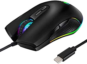 RGB LED Gaming Mice,3200 DPI,Wired USB C Port for Apple MacBook Pro 2017/2016,MacBook 14-Inch,Chromebook,Windows PC,Computer or Laptops with Type C Port