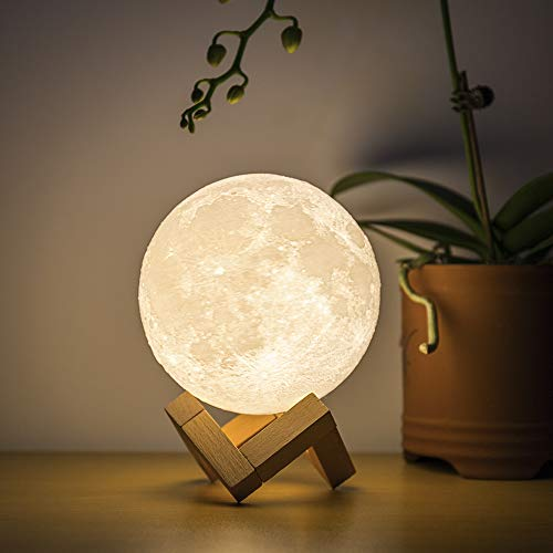 BRIGHTWORLD Moon Lamp Moon Night Light 3D Printed 4.7IN Lunar Lamp for Kids Gift for Women USB Rechargeable Touch Contral Brightness Warm and Cool White