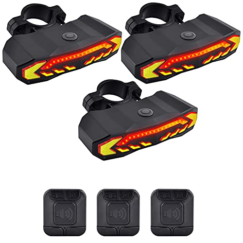 GREENCYCLE Smart Bike Tail Light, Anti-Theft Bicycle Taillight with Turn Signals and Automatic Brake Light, Bike Rear Light with Remote Control, USB Rechargeable Safety Warning Cycling Light, 3 Pack