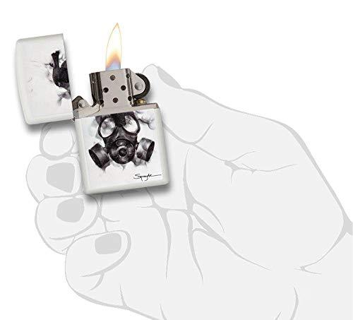 Zippo Unisex spazuk máscara de Gas Mechero con Normal, Color Blanco Mate, Talla única 2