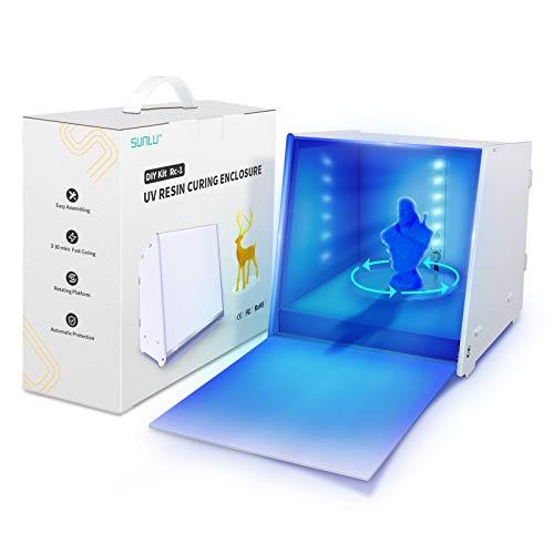 Caja de luz de curado de resina UV para pantalla LCD SLA DLP 3D Resina, caja de curado de resina UV de 405 nm con plato giratorio conducido, control de tiempo, recinto de curado DIY