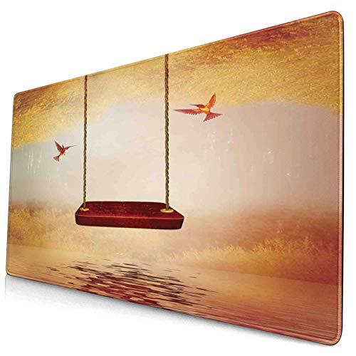 KASABULL Alfombrilla de ratón Decoración de colibríes Hamaca roja y colibrí en una Escena de Cuento de Hadas de fantasía de Lago pacífico Decorativo 400x900 mm Extra Grande para Juegos