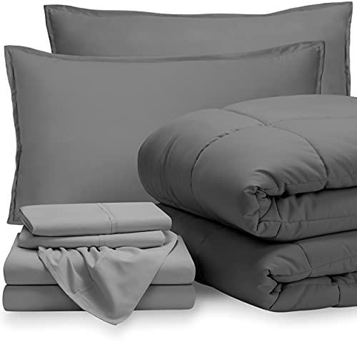 Bare Home Bedding Set 7 Piece Comforter & Sheet Set - Queen - Goose Down Alternative - Ultra-Soft 1800 Premium Bed Set (Queen, Grey/Light Grey)