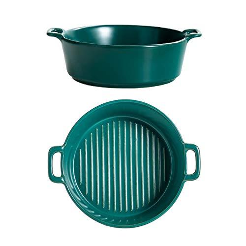 Tomedeks Bandeja para hornear de cerámica de 6 pulgadas, cuenco para pasta con asa para lasaña, hornear, sopa, fideos (verde)