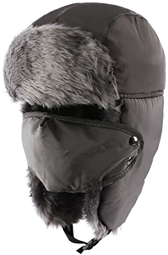 Odema Unisex Women Men Trooper Hat Ear Flap Bomber Hat Winter Fur Hunting Hat Gray