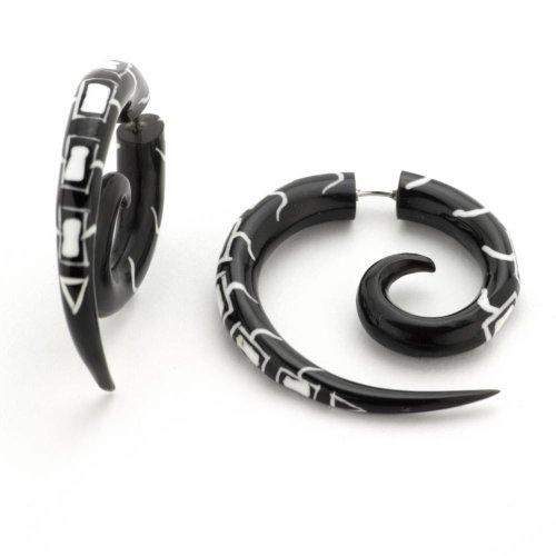 81stgeneration Pendientes Dilatadores Expansores Falsos de Cuerno Tribales Espirales con Tatuaje