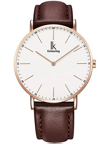 Alienwork IK Herren Damen Armbanduhr Quarz Rose-Gold mit Lederarmband braun Weiss Ultra-flach Slim-Uhr