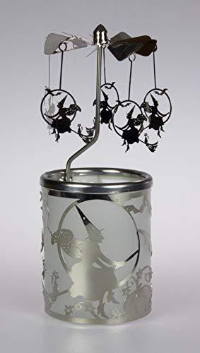 Kaarsenfarm kraan glazen carrousel theelichthouder windlicht 84391 motief heks afmeting 16 x 6 x 6 cm, glas, hout roodachtig, 6 x 6 x 7 cm