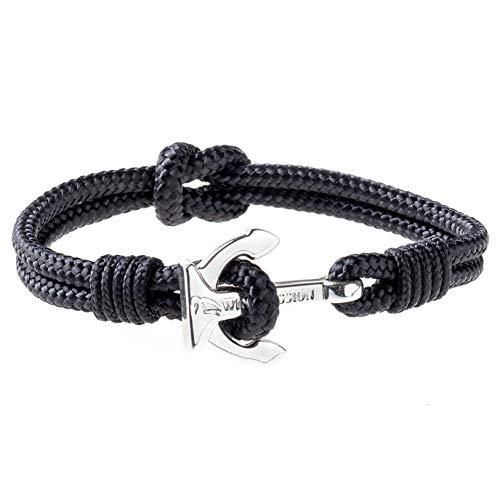 braccialetto ancora Wind Passion Bracciale Ancora Nero Corda Nautica Intrecciato Acciaio Inossidabile per Uomo e Donna