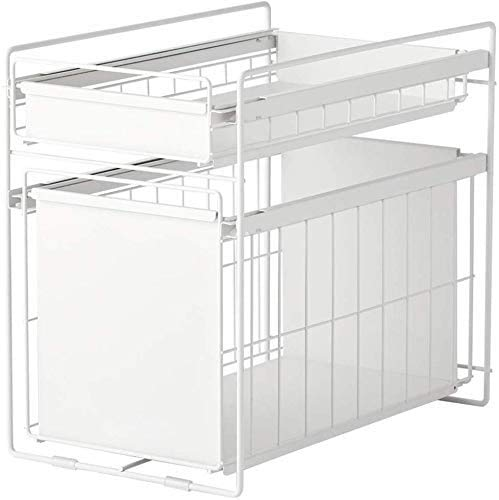 MTCGH Dish Rack,Home Wrought Iron Kitchen Rack Double-Layer Spice Rack Storage Rack