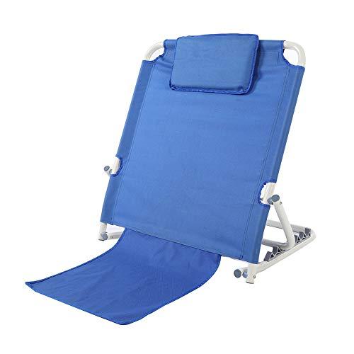Greensen Bed Backrest, Portable Adjustable Stainless Steel Back Rest Folding Disability Bed Backrest for Beach Travel Lounge Hospital, Blue