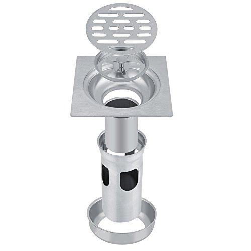 Desagüe de ducha Dren de piso cuadrado de la ducha del Anti-olor del cuadrado del acero inoxidable 304 con el colador desprendible