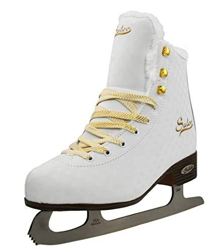 SULOV Damen Eiskunstlauf Schlittschuhe weiß-Gold - Gr. 36, 37, 38, 39, 40, 41, 42, 43 (38)